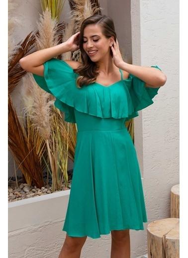 Carmen  Askılı Volanlı Şifon Kısa Abiye Elbise Yeşil